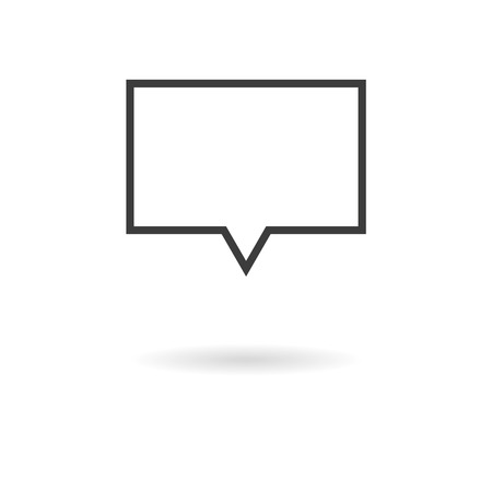 opinion: Isolated dark gray rectangular icon for speech bubbles talk, dialogue, chat, opinion, contact, conversation, forum, message ... on white background with shadow