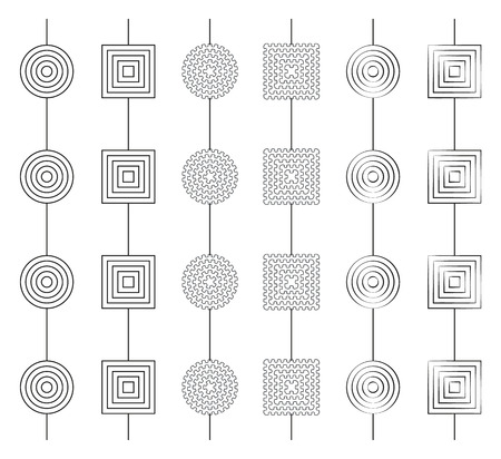 y ornament: Set of 6 simple greyscale gerland patterns seamless by axis Y