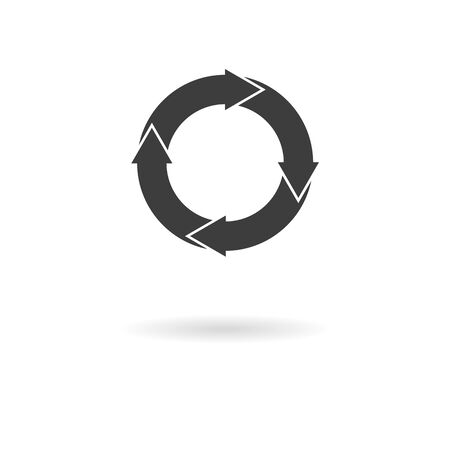 redo: Isolated dark gray icon with 4 white circular arrows refresh, redo, circulation on white background with shadow Illustration