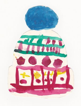 beanie: Original scanned child 6 year old illustration of colorful beanie with large pompon - isolated on white background; watercolors on paper