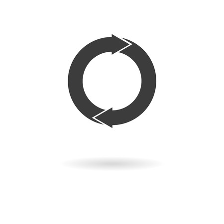 recover: Isolated dark gray icon for refresh recover, recycle, update, ... on white background with shadow