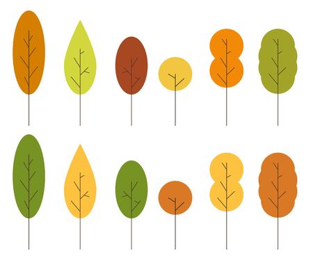 6 12: Set of 12 2 sets of 6 unique minimalist isolated trees in autumn colors Illustration