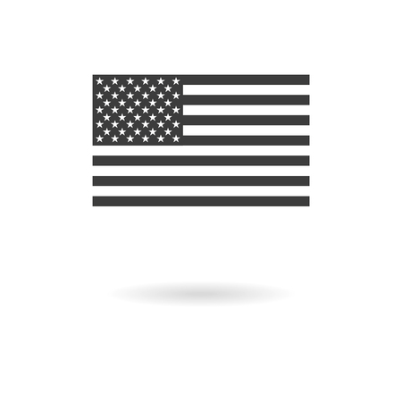 Isolated dark gray greyscale icon for the US official Proportions flag on white background with shadow Ilustração