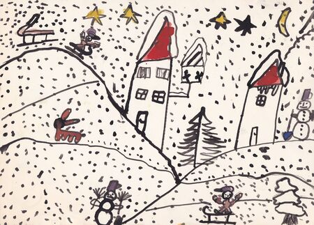 sledging: Original child illustration of winter landscape with houses, snowman, bird feeder, sledging kids and brown rabbit made by ink and watercolors on paper Stock Photo