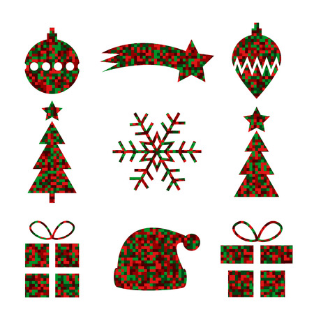 fill in: Set of 9 Christmas icons with pixel fill in Christmas colors