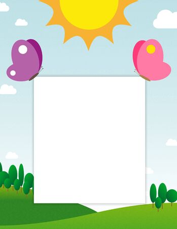 cartoon board: Two butterflies holding blank page for your message on sunny day landscape background Stock Photo