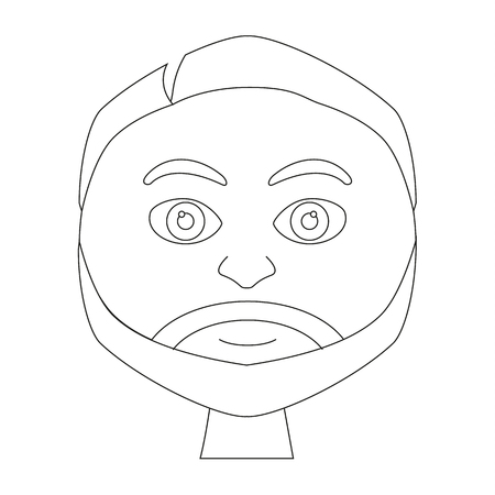 adult male: Coloring book page - portrait of smiling adult male with beard