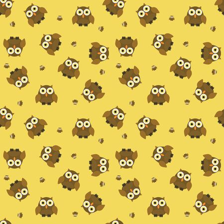 owl illustration: Seamless cartoon owl pattern in muted colors