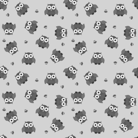 greyscale: Seamless cartoon owl pattern in greyscale colors