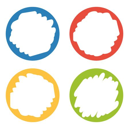 erased: Set of 4 colorful badges with hand erased center isolated on white Illustration