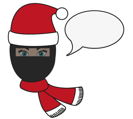 burqa: Isolated illustration of religious fusion - girl in burqa with Santas hat, christmas festive scarf and speech bubble