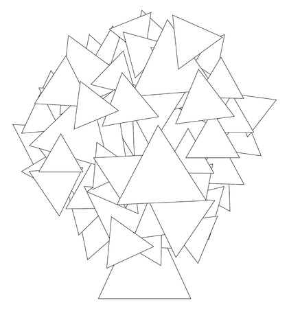 Coloring book - abstract tree illustration made of triangles for your coloration