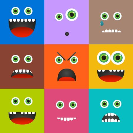 alien face: Set of 9 different emoticons in square shapes and solid colors