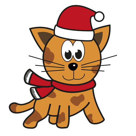 cartoon hat: Isolated illustration of tiger cat with festive apparel - Santas hat and red scarf