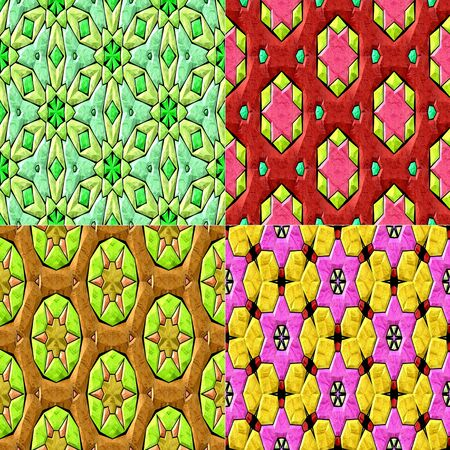 vivid colors: Set of 4 isolated seamless geometrical pattern in vivid colors Stock Photo