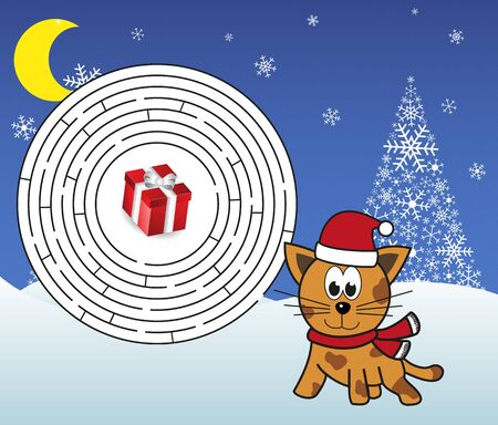 cat tiger: Christmas maze - help cat tiger get to the present! Solution