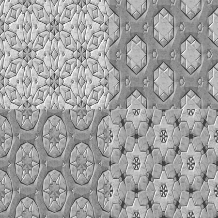 greyscale: Set of 4 caleidoscopic mosaic ornamental seamless pattern in greyscale Stock Photo