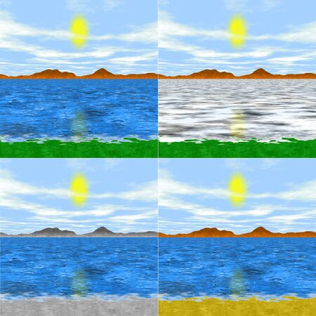 mountin: Set of 4 isolated simple generated landscapes - with grass, stone, beach and with frozen lake Stock Photo