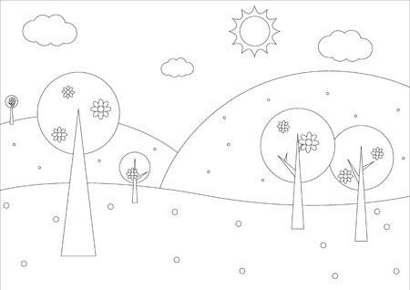 Coloring Book - Simple Spring Geometrical Landscape With Trees