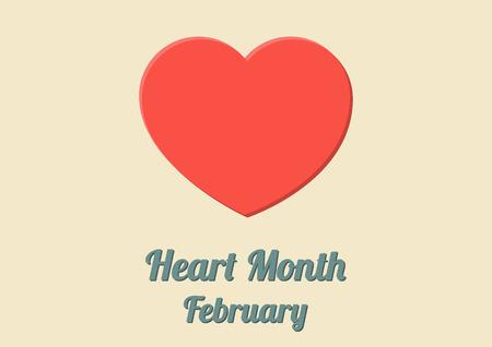 大きな赤いハートの 2 月の心の月の毎年恒例の祭典のためのポスター  イラスト・ベクター素材