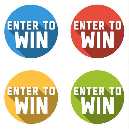 Set van 4 platte geïsoleerde kleurrijke knoppen met pictogrammen ENTER WIN WINST tekst