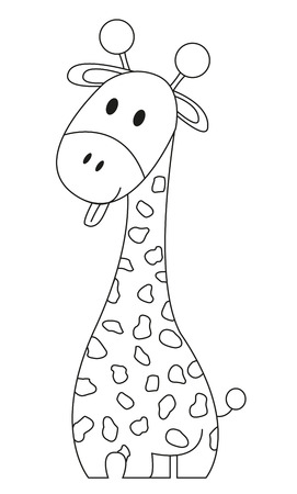 stick out: Funny giraffe with tongue stick out - coloring book Illustration