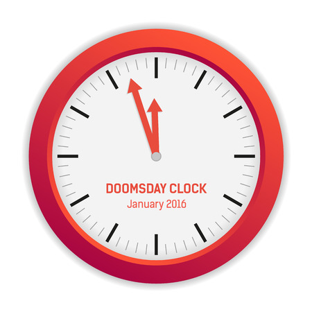 doomsday: Isolated illustration of Doomsday clock - the according to the Bulletin of the Atomic Scientists, it is 3 minutes to midnight published January 2016 Illustration
