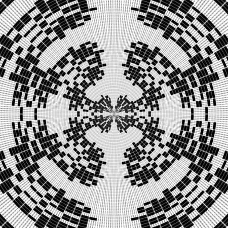 taper: Black and white illustration - collection of concentric circles with taper illusion Stock Photo