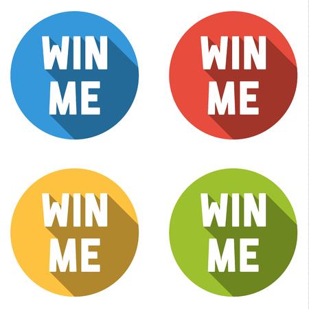 Set isolato di 4 icone colorate con testo Win me Vettoriali