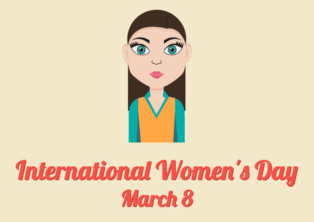 young womens: Poster for annual celebration of International Womens Day March 8 with illustration of young woman