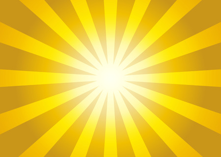 Illustration of yellow color burst - sun rays from center to sides Ilustração