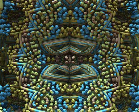 muted: 3D fractal ornament, design element, symmetry, muted colors