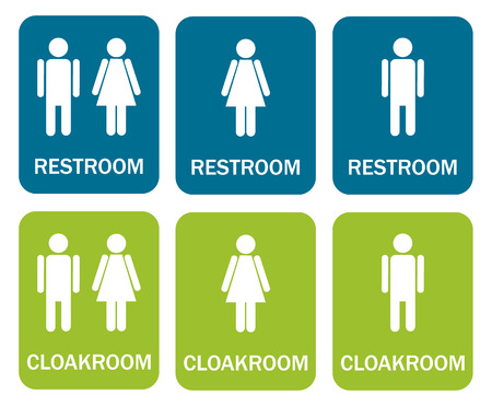 6 isolated signs - 3 for restroom - man, woman, mix and 3 for cloakroom - man, woman, mix Vektorové ilustrace