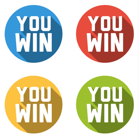 victorious: Set of 4 flat buttons in different colors with long shadow and YOU WIN text Illustration