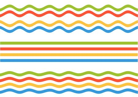 streight: Set of 3 colorful stripes set - streight, wavy and bloated, isolated on white, seamless by x Illustration