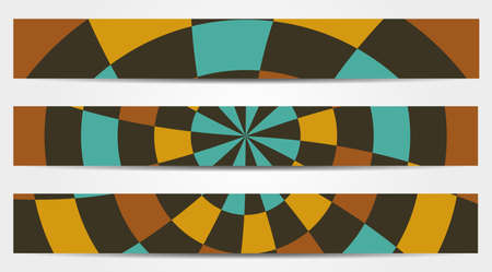 curle: Set of 3 isolated banners in retro rounded design
