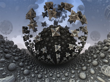 Abstract fantasy, sci-fi, fractal - surface of alien planet with strange orb with artefacts flying round it Stock Photo