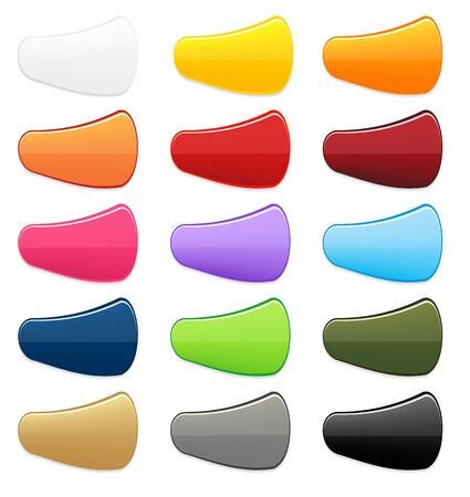 light shadow: Big set of nice and unusual 15 colorful isolated buttons with light shadow