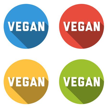 fresh produce: Set of 4 isolated colorful icons for VEGAN, isolated on white