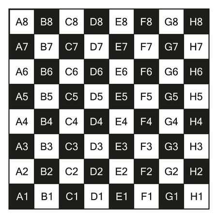 checkerboard backdrop: Chessboard with coordinates illustration, isolated on white