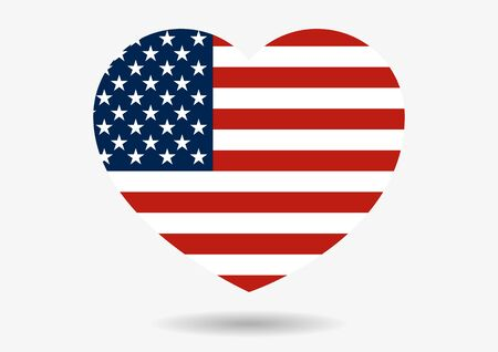 united stated: Illustration of USA flag in heart shape with shadow isolated on grey Illustration