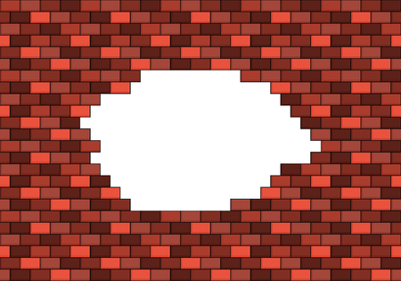 white hole: Damaged red brick wall with big white hole inside with place for your text