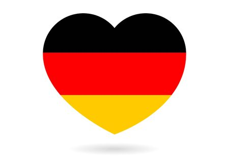 Heart with flag of Germany inside with small shadow, isolated on white