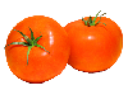 veggies: Pixaleted illustration of two red tomatoes, isolated on white