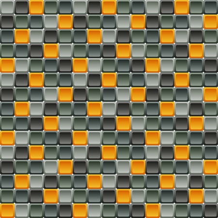 rounded squares: Seamless tile pattern made of rounded squares in shades of gray with contrast orange