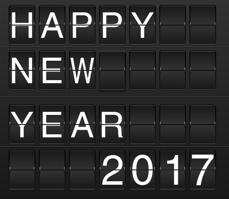 flipboard: Happy New Year 2017 card in display board style (solari board, flightboard, flipboard)