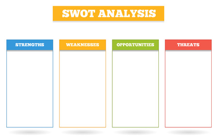 weaknesses: Simple colorful chart for SWOT analysis - box for strenghts, weaknesses, opportunities and threats
