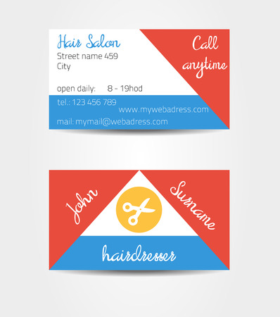 eg: Two sided eccentric and extraordinary business cards template - eg. for hairdresser - all data are fictional