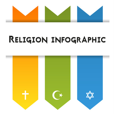 christianity: Infographic template for 3 religions - christianity, islam and judaism, isolated on white