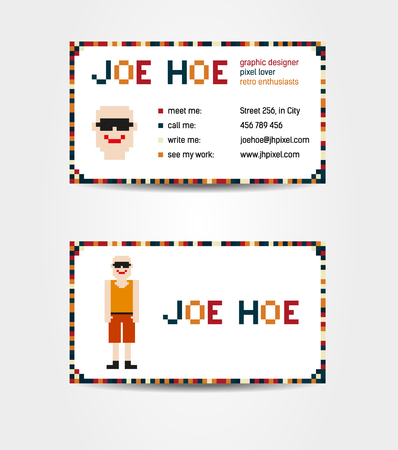 sided: Two sided business card creative concept with pixel art - man with whole body and face on the side with contact information; fictional data